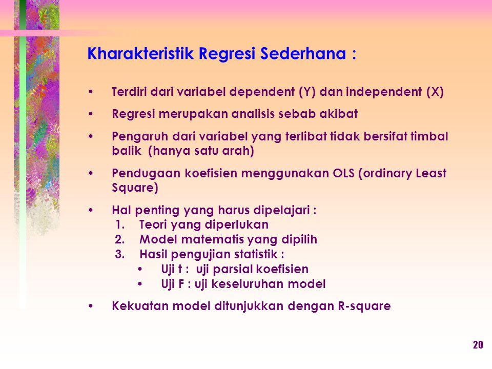Kharakteristik Regresi Sederhana :