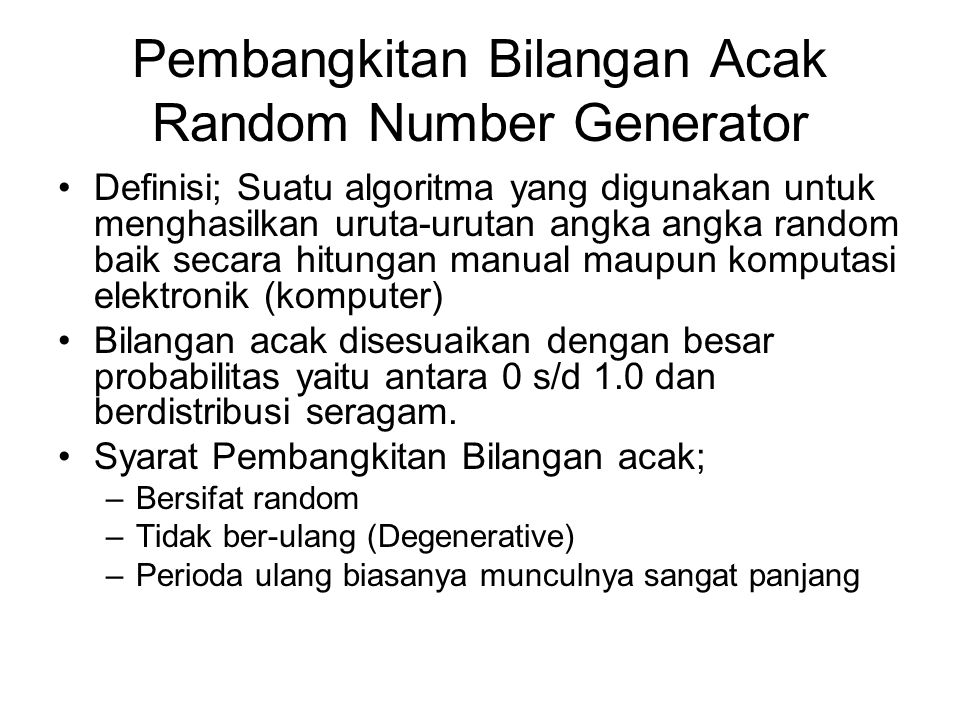 Pembangkitan Bilangan Acak Random Number Generator