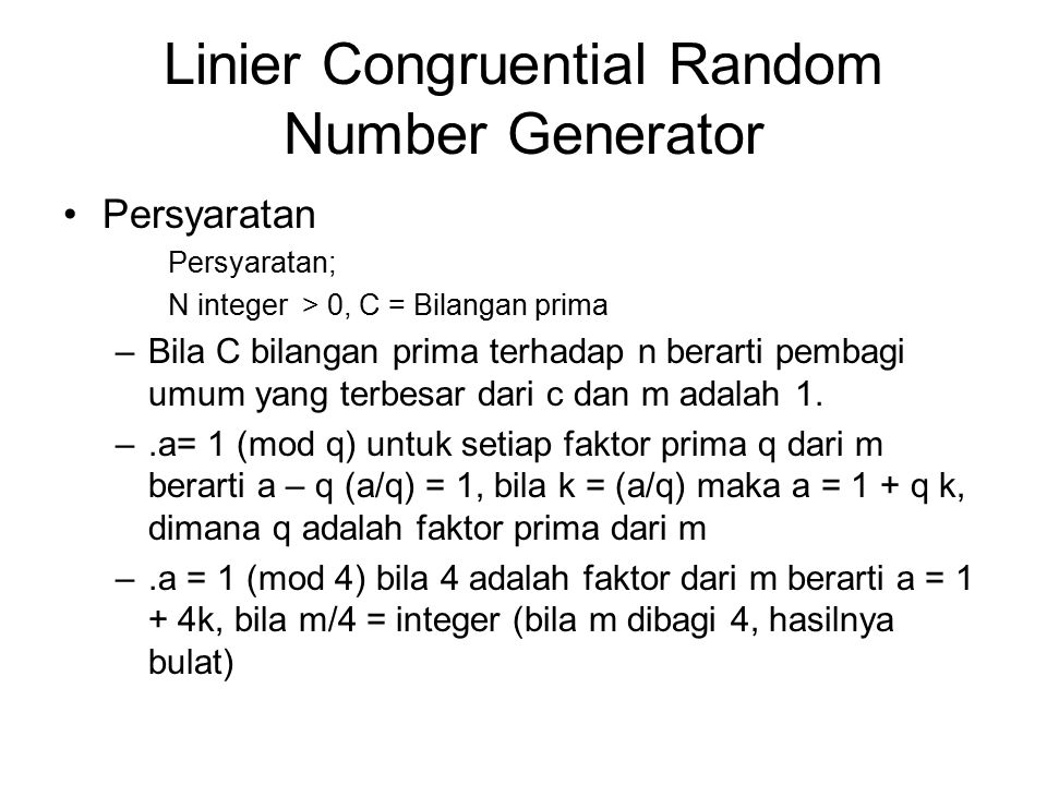 Linier Congruential Random Number Generator
