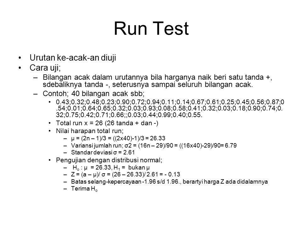 Run Test Urutan ke-acak-an diuji Cara uji;