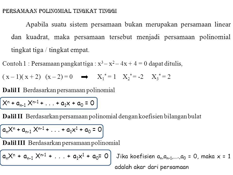 Persamaan polinomial tingkat tinggi