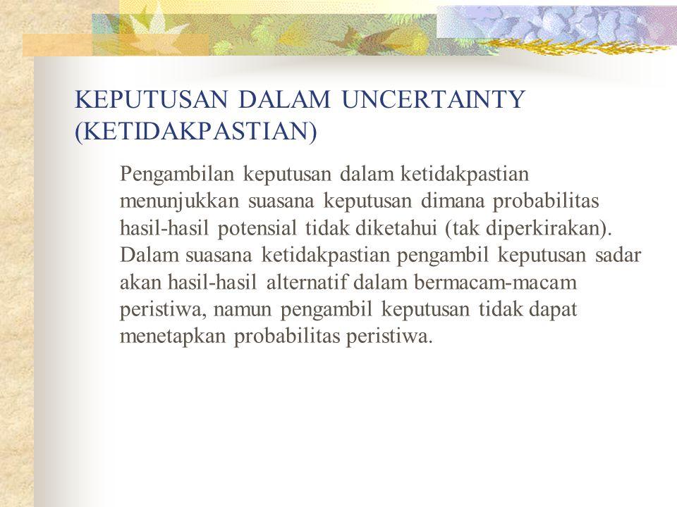 KEPUTUSAN DALAM UNCERTAINTY (KETIDAKPASTIAN)