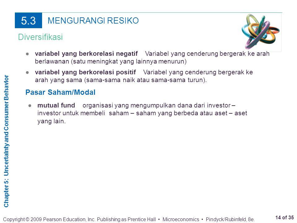 5.3 MENGURANGI RESIKO Diversifikasi Pasar Saham/Modal