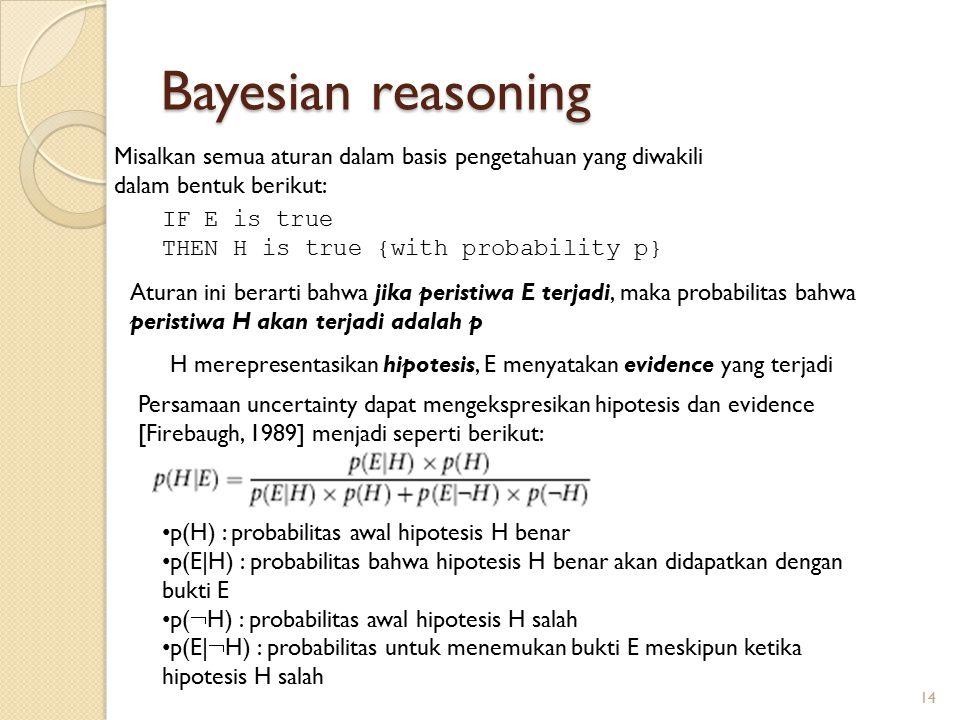 Bayesian reasoning Misalkan semua aturan dalam basis pengetahuan yang diwakili dalam bentuk berikut: