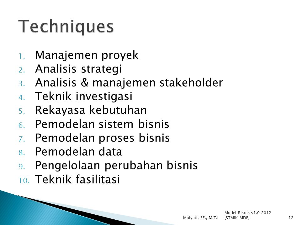 Techniques Manajemen proyek Analisis strategi