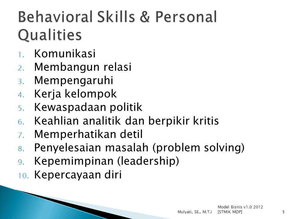 Behavioral Skills & Personal Qualities