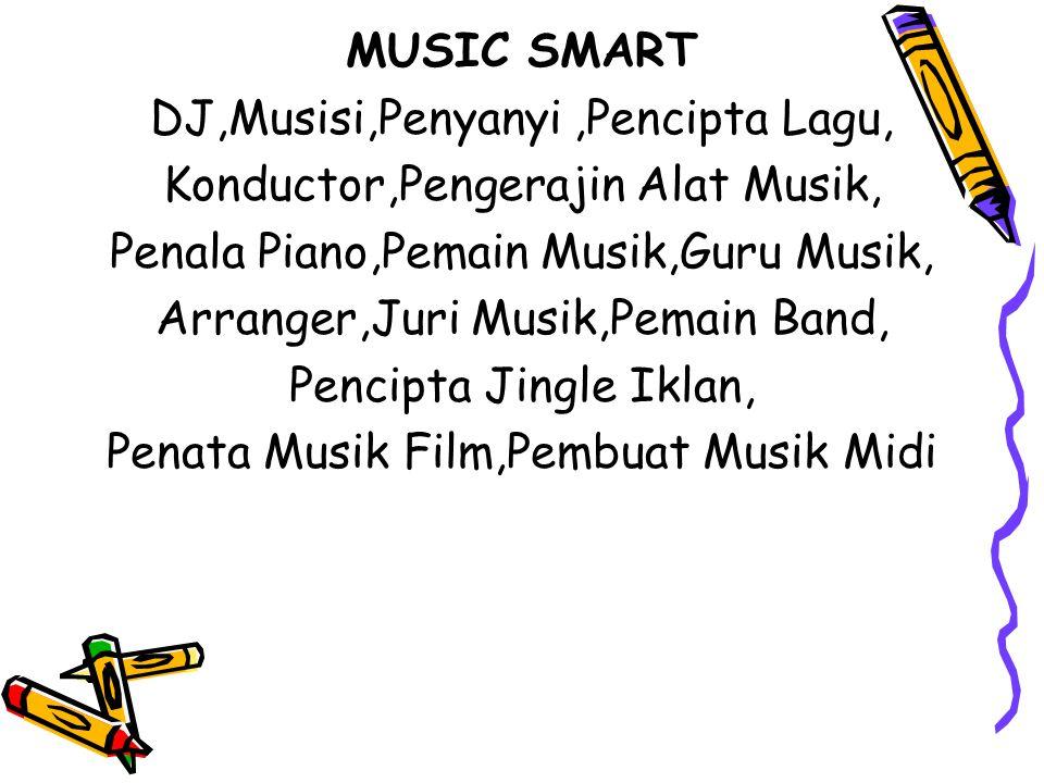 DJ,Musisi,Penyanyi ,Pencipta Lagu, Konductor,Pengerajin Alat Musik,