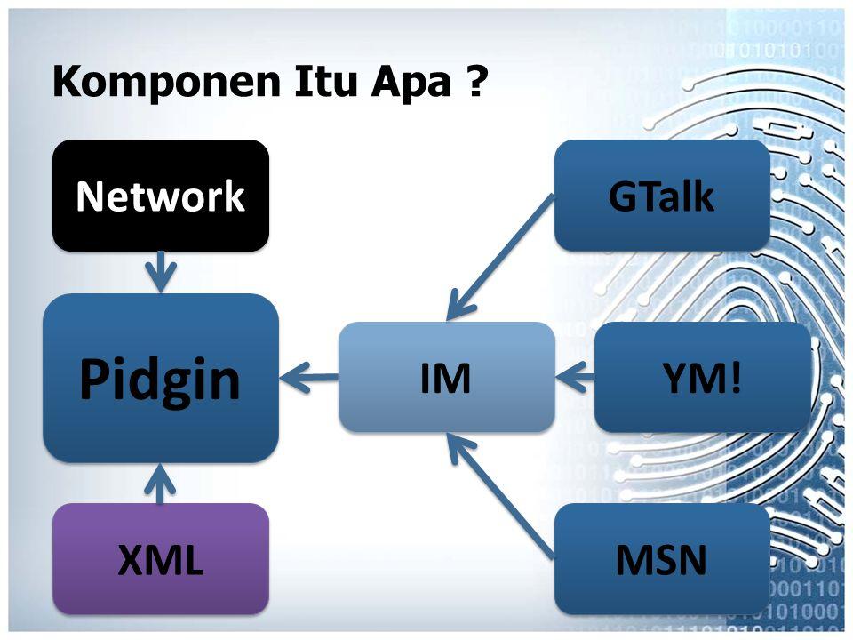 Komponen Itu Apa Network GTalk Pidgin IM YM! XML MSN