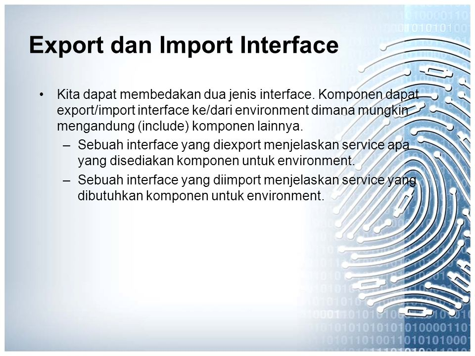 Export dan Import Interface