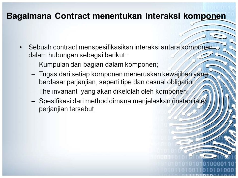 Bagaimana Contract menentukan interaksi komponen