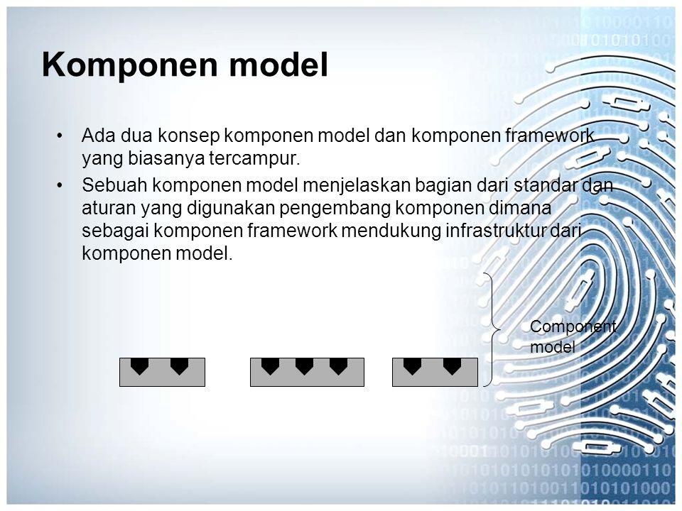 Komponen model Ada dua konsep komponen model dan komponen framework yang biasanya tercampur.