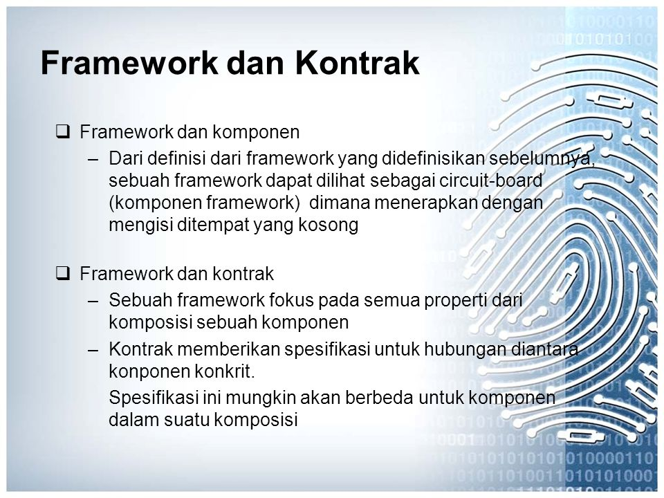 Framework dan Kontrak Framework dan komponen