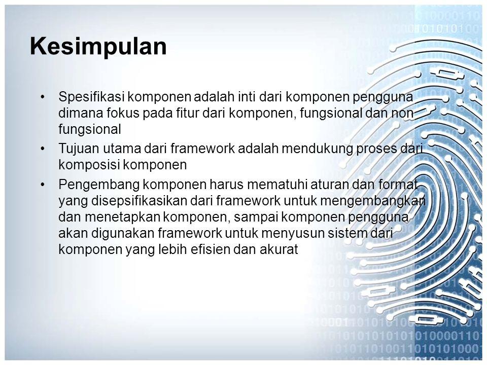 Kesimpulan Spesifikasi komponen adalah inti dari komponen pengguna dimana fokus pada fitur dari komponen, fungsional dan non fungsional.