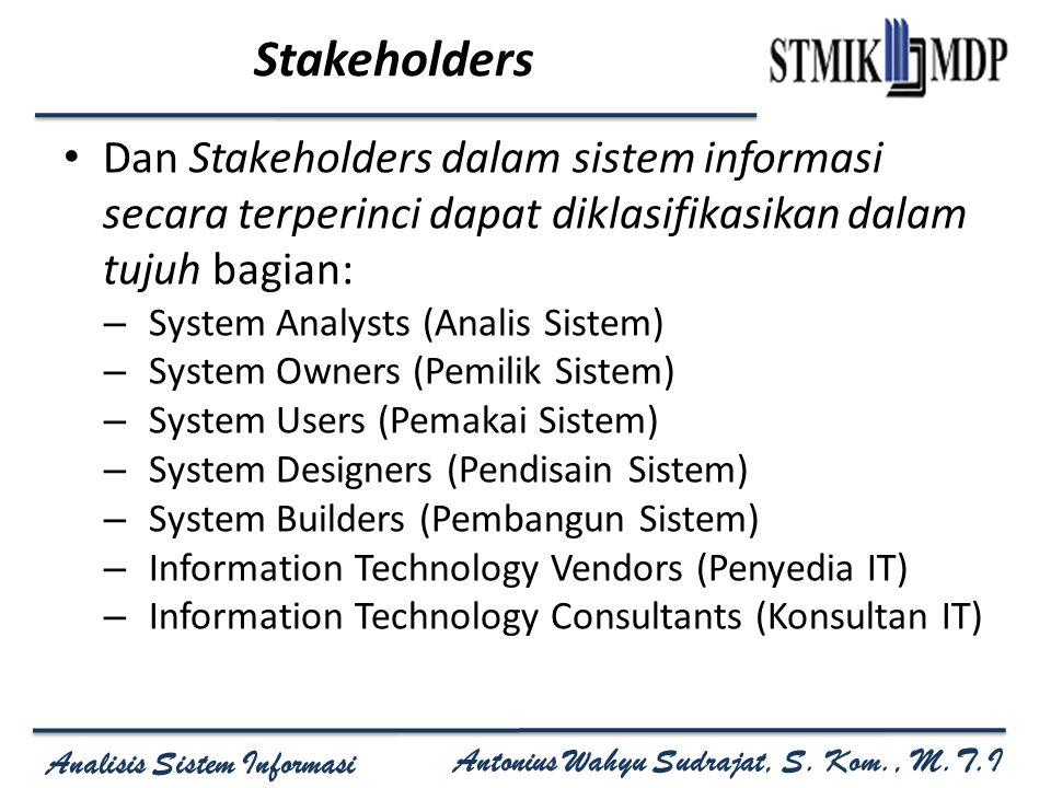 Stakeholders Dan Stakeholders dalam sistem informasi secara terperinci dapat diklasifikasikan dalam tujuh bagian:
