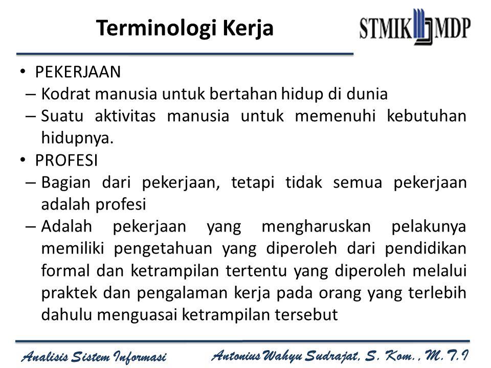 Terminologi Kerja PEKERJAAN