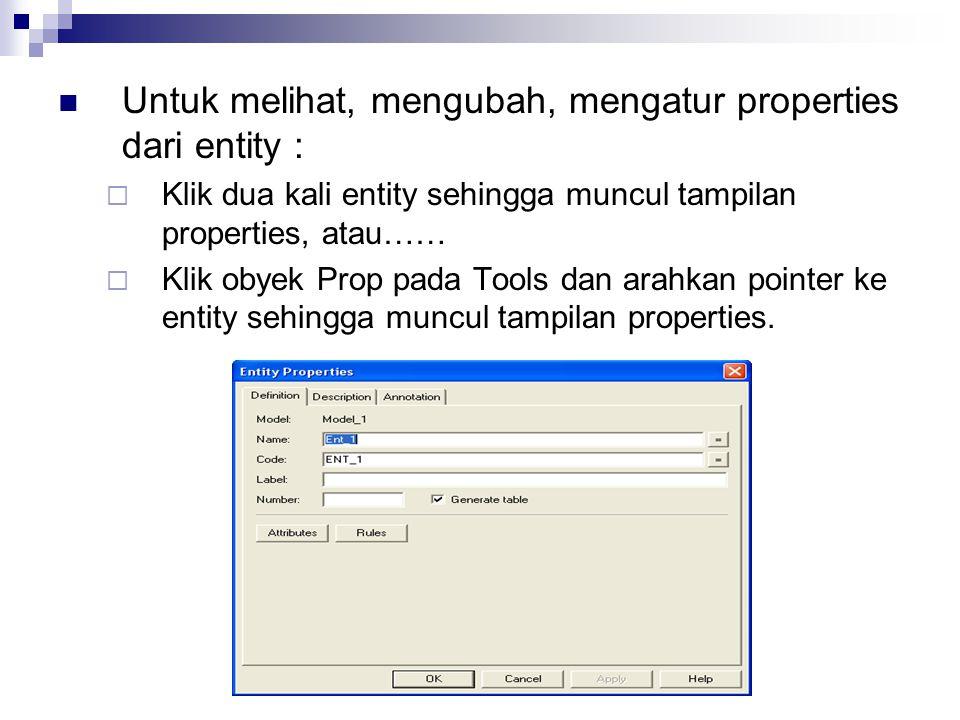 Untuk melihat, mengubah, mengatur properties dari entity :