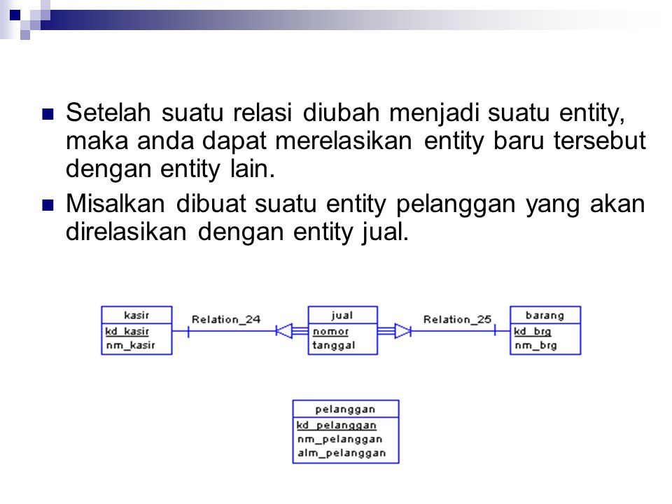 Setelah suatu relasi diubah menjadi suatu entity, maka anda dapat merelasikan entity baru tersebut dengan entity lain.