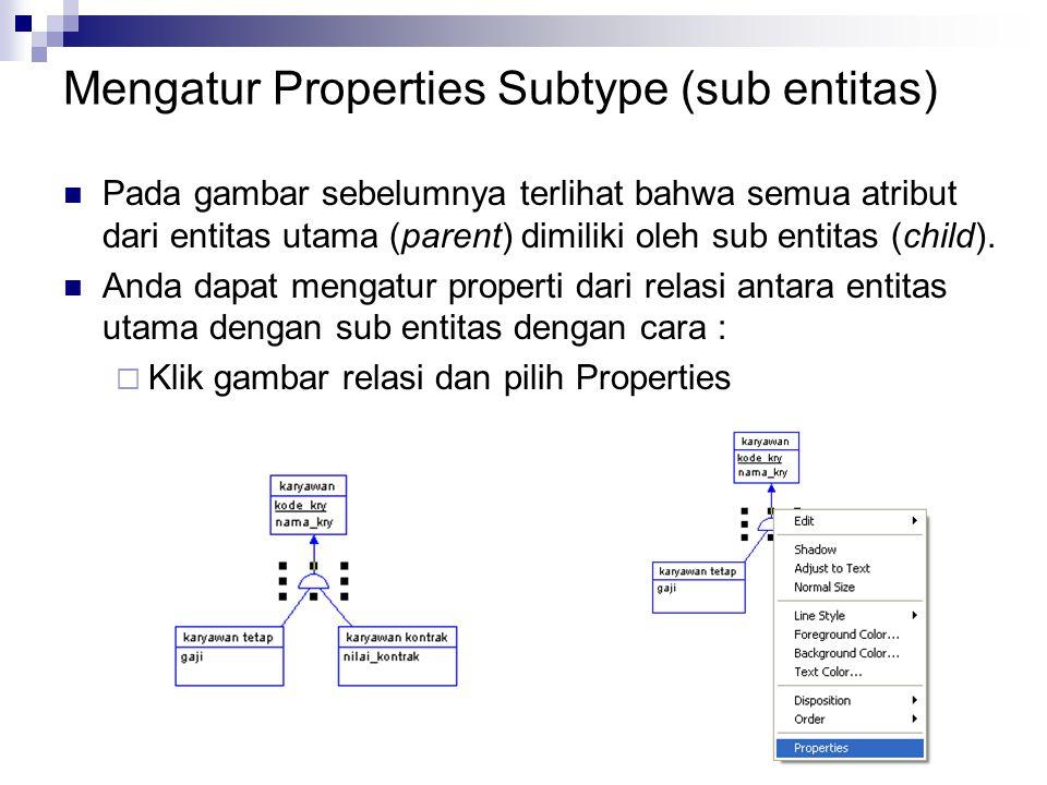 Mengatur Properties Subtype (sub entitas)