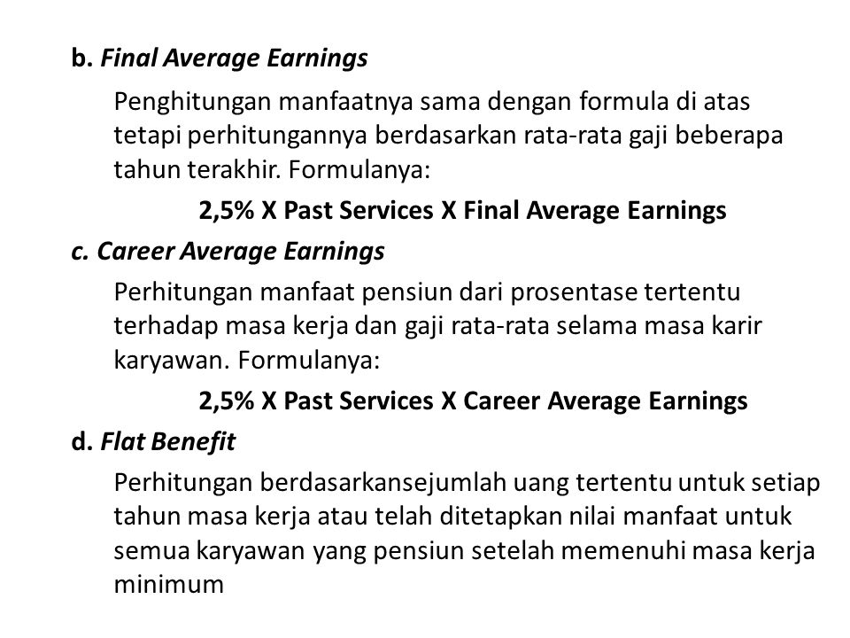 b. Final Average Earnings