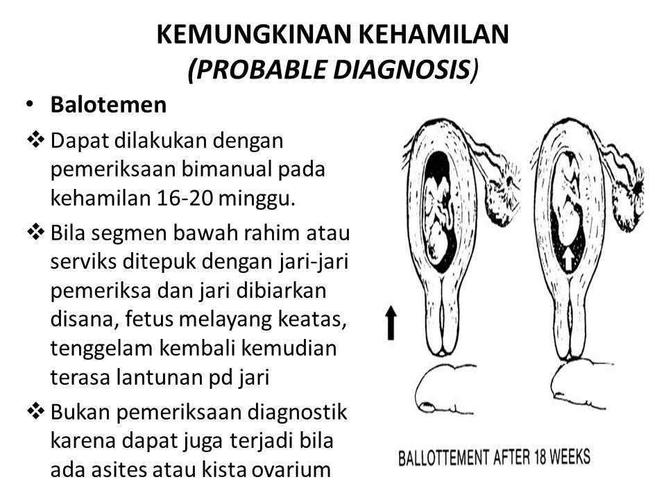 KEMUNGKINAN KEHAMILAN (PROBABLE DIAGNOSIS)