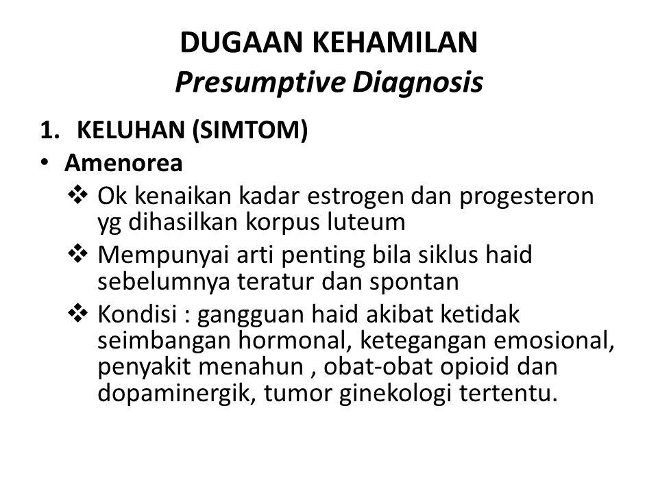 DUGAAN KEHAMILAN Presumptive Diagnosis