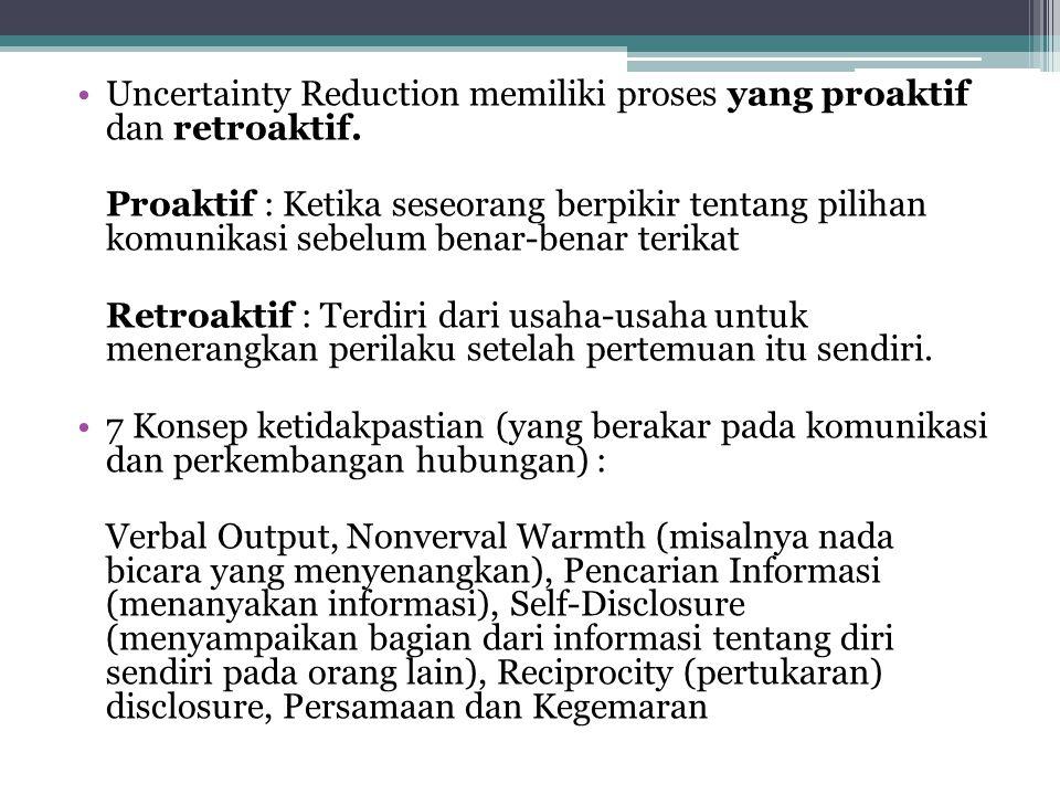 Uncertainty Reduction memiliki proses yang proaktif dan retroaktif.