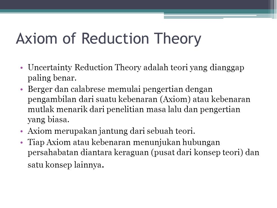 Axiom of Reduction Theory