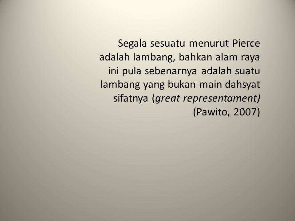 Segala sesuatu menurut Pierce adalah lambang, bahkan alam raya ini pula sebenarnya adalah suatu lambang yang bukan main dahsyat sifatnya (great representament) (Pawito, 2007)