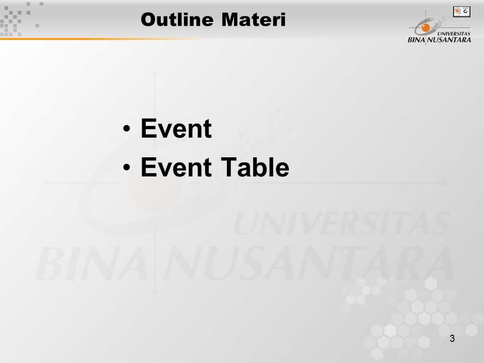 Outline Materi Event Event Table