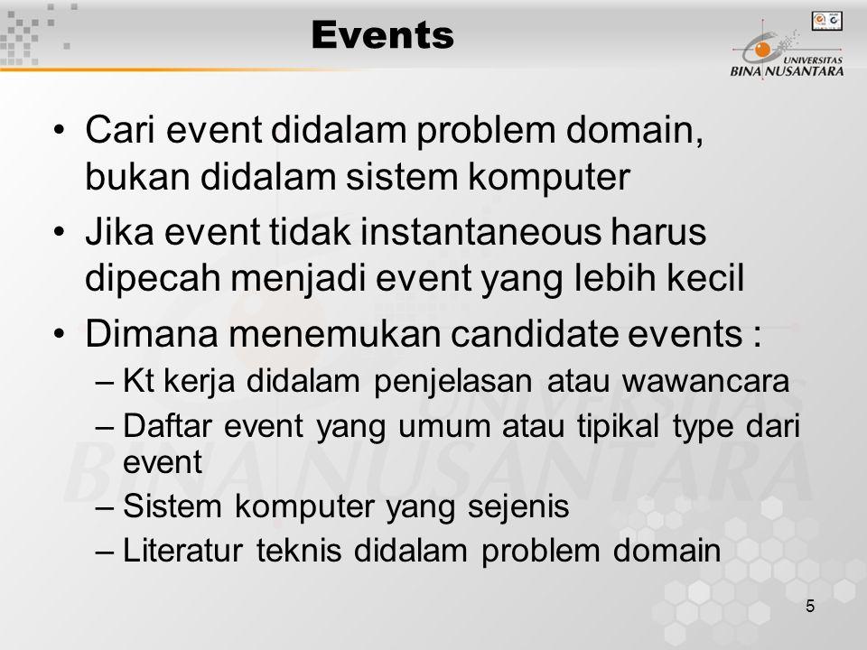 Cari event didalam problem domain, bukan didalam sistem komputer