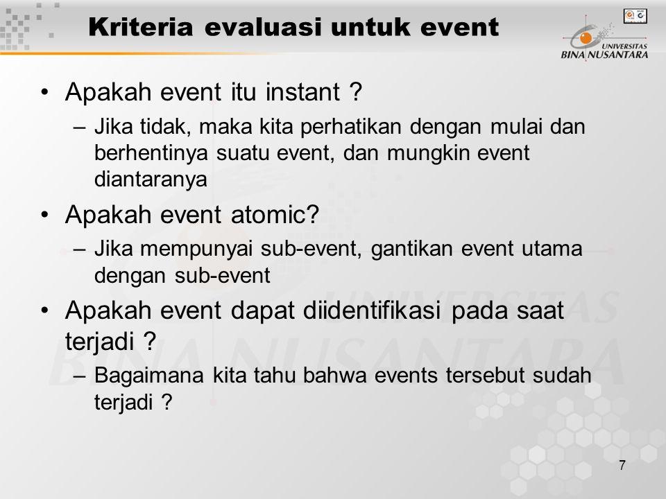 Kriteria evaluasi untuk event