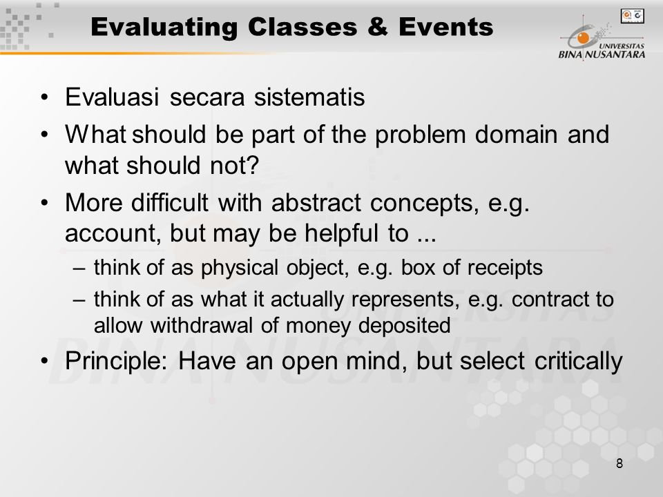 Evaluating Classes & Events