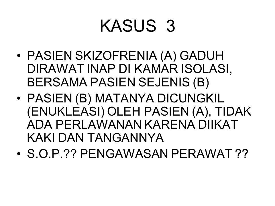 KASUS 3 PASIEN SKIZOFRENIA (A) GADUH DIRAWAT INAP DI KAMAR ISOLASI, BERSAMA PASIEN SEJENIS (B)