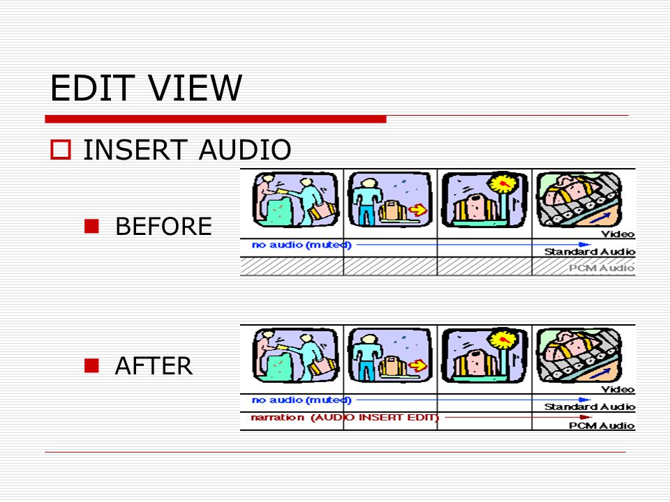 EDIT VIEW INSERT AUDIO BEFORE AFTER