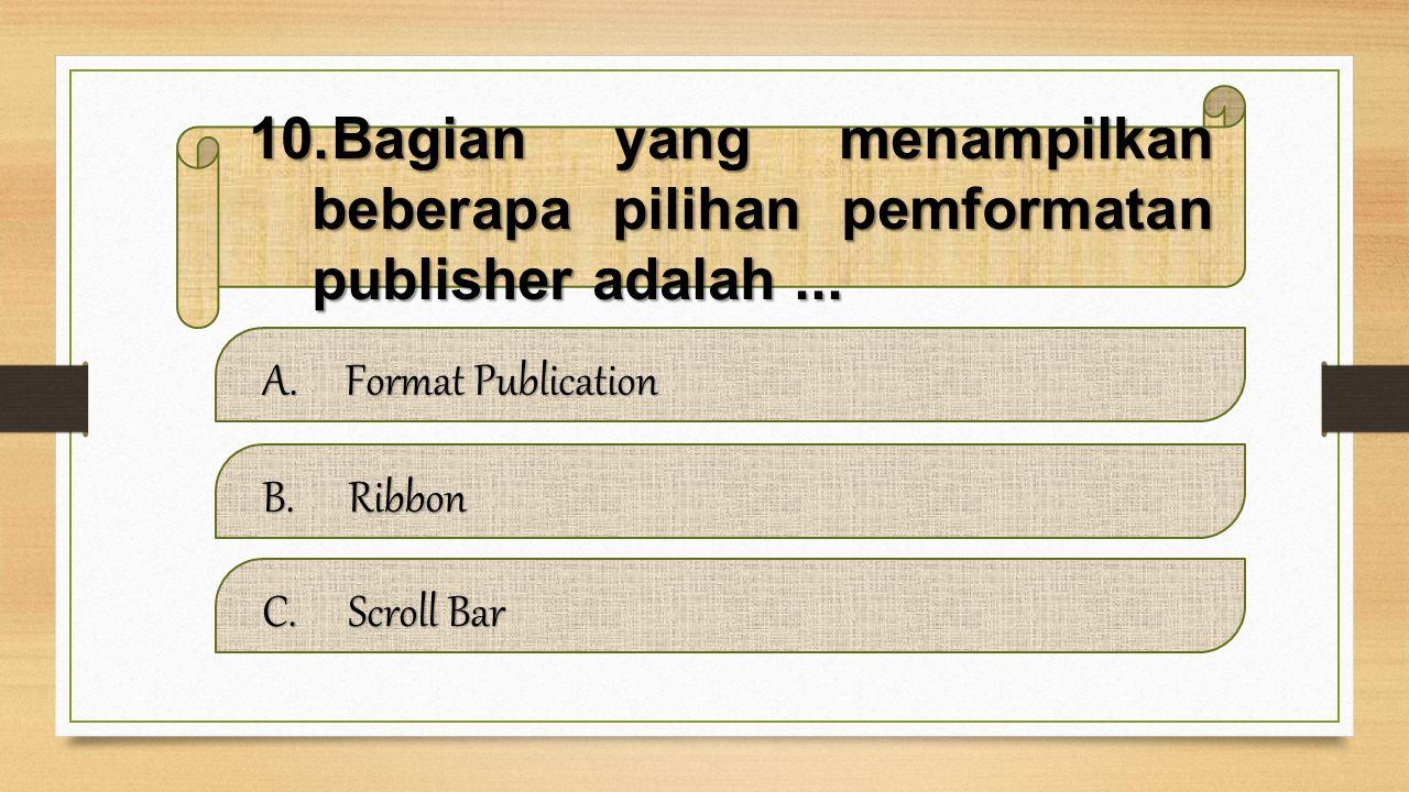 Bagian yang menampilkan beberapa pilihan pemformatan publisher adalah ...