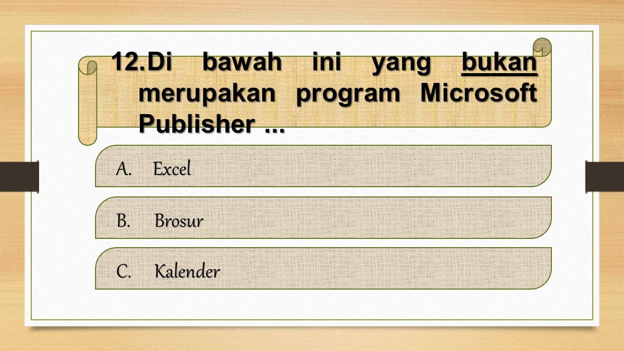 Di bawah ini yang bukan merupakan program Microsoft Publisher ...