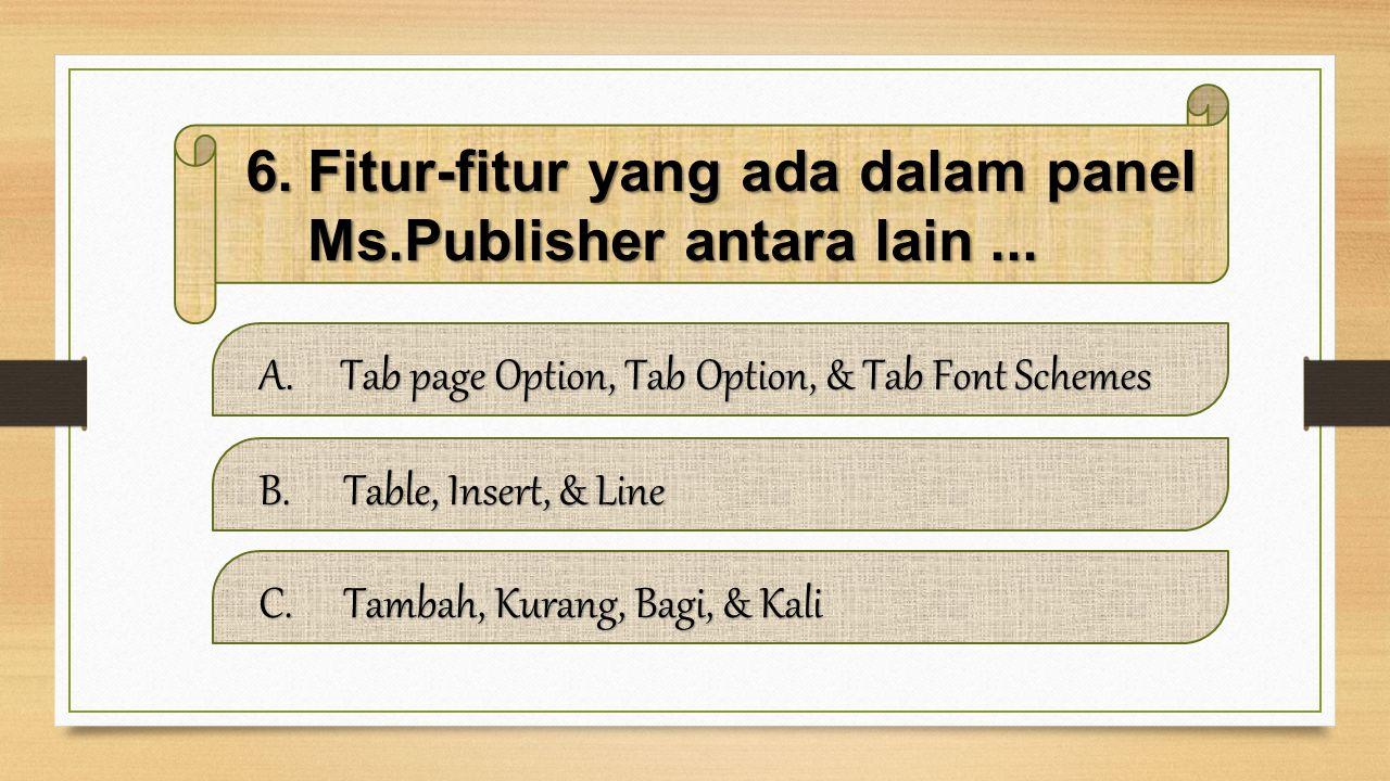 Fitur-fitur yang ada dalam panel Ms.Publisher antara lain ...