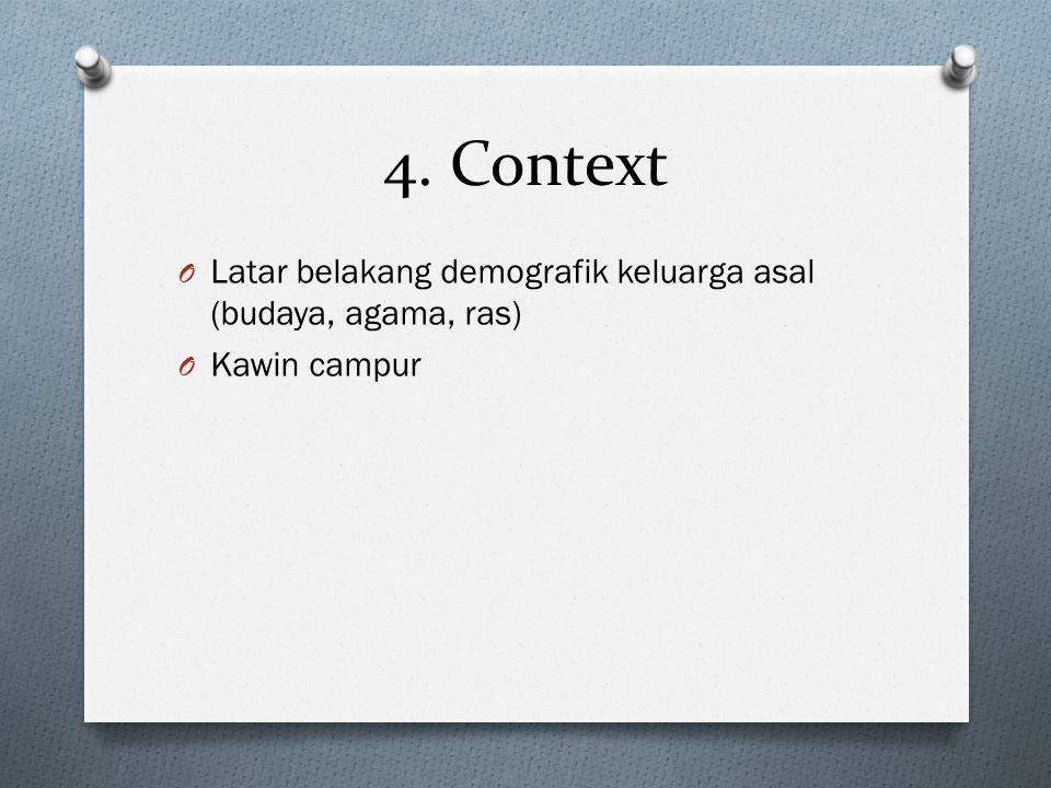 4. Context Latar belakang demografik keluarga asal (budaya, agama, ras) Kawin campur