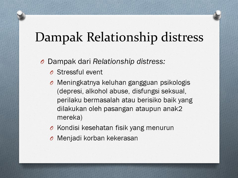 Dampak Relationship distress