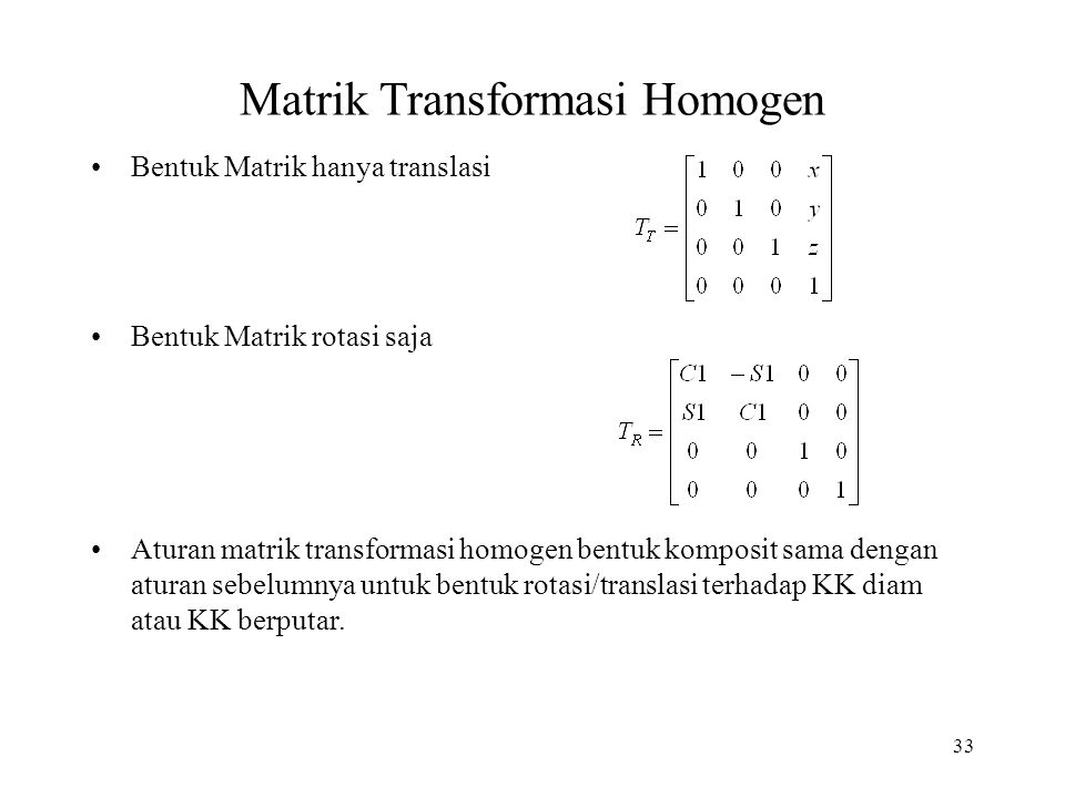 Matrik Transformasi Homogen
