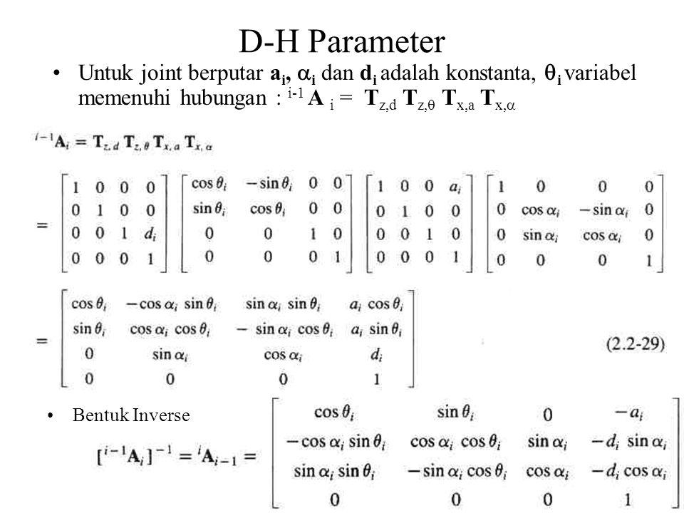D-H Parameter Untuk joint berputar ai, i dan di adalah konstanta, i variabel memenuhi hubungan : i-1 A i = Tz,d Tz, Tx,a Tx,