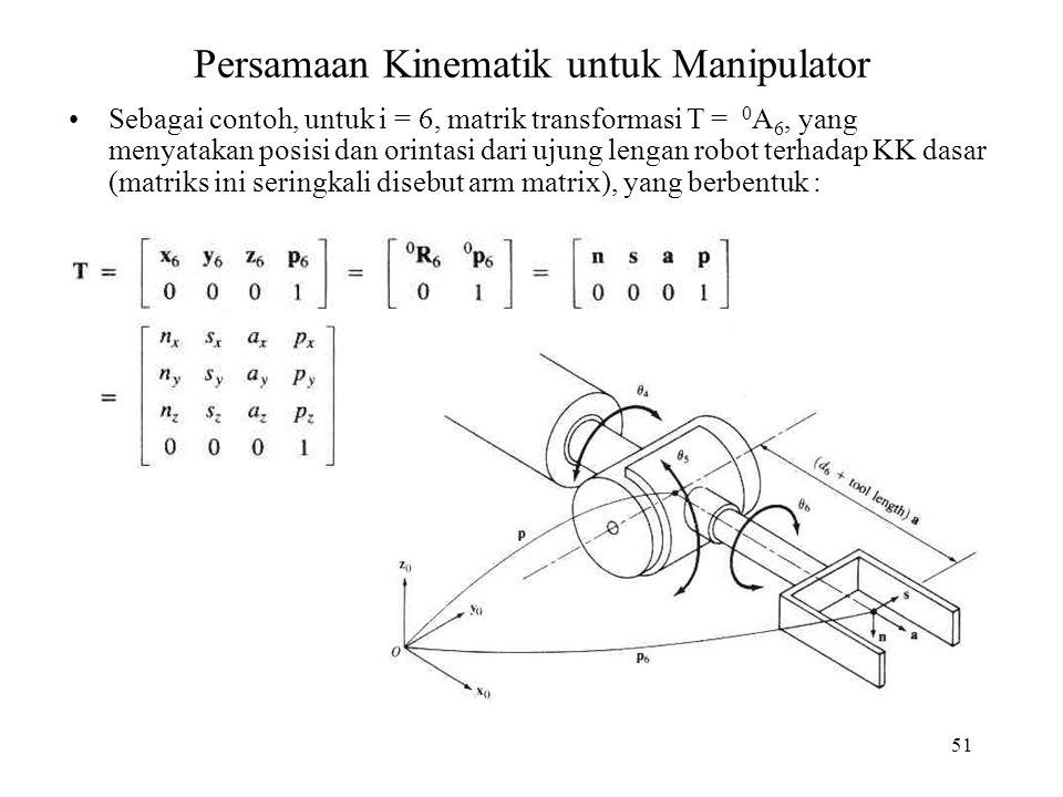 Persamaan Kinematik untuk Manipulator