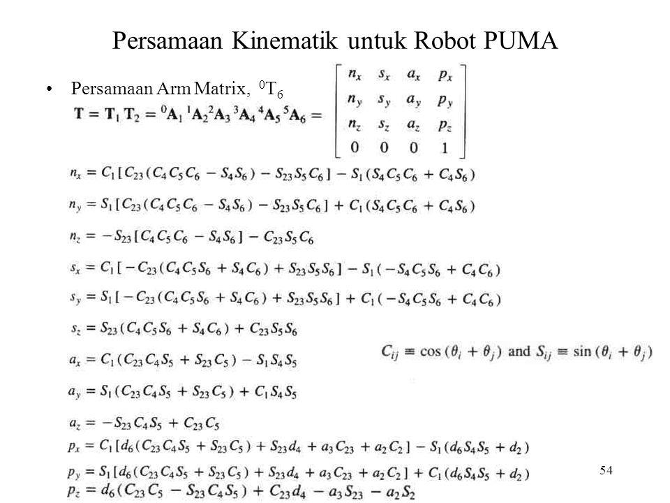Persamaan Kinematik untuk Robot PUMA