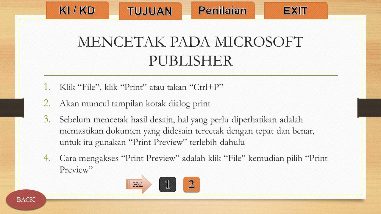 MENCETAK PADA MICROSOFT PUBLISHER