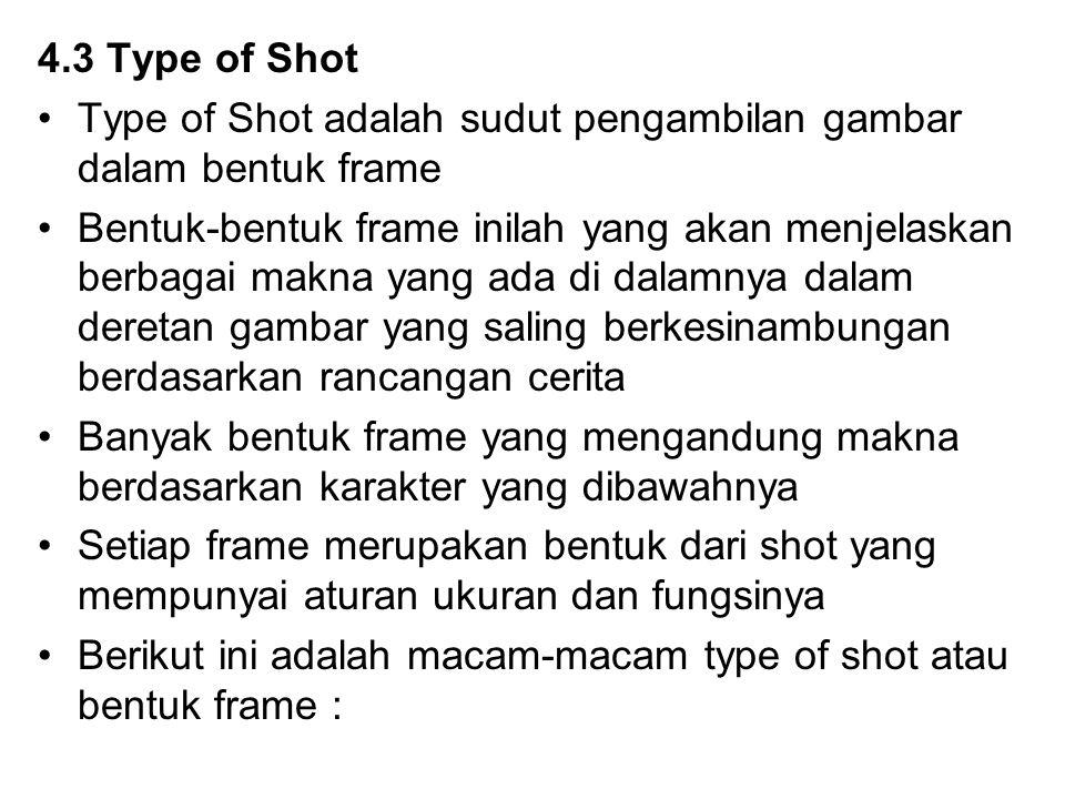 4.3 Type of Shot Type of Shot adalah sudut pengambilan gambar dalam bentuk frame.