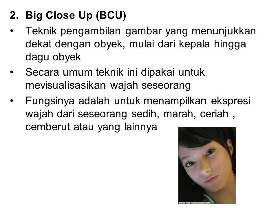 Big Close Up (BCU) Teknik pengambilan gambar yang menunjukkan dekat dengan obyek, mulai dari kepala hingga dagu obyek.