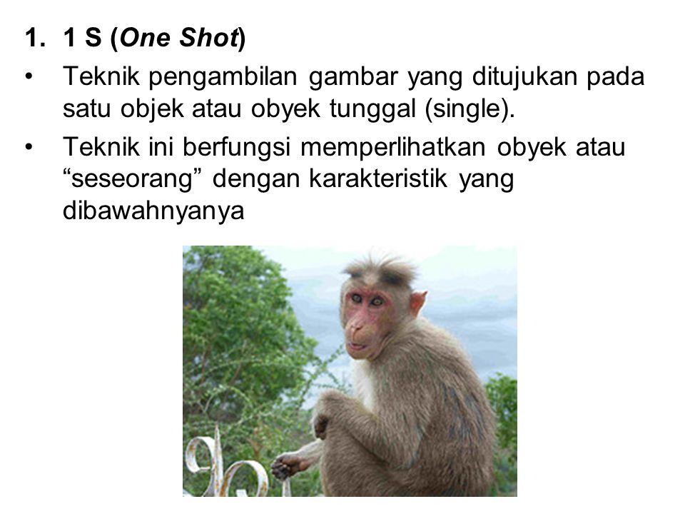 1 S (One Shot) Teknik pengambilan gambar yang ditujukan pada satu objek atau obyek tunggal (single).