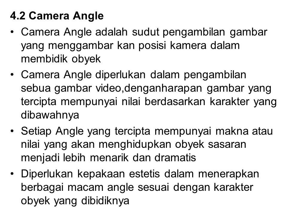 4.2 Camera Angle Camera Angle adalah sudut pengambilan gambar yang menggambar kan posisi kamera dalam membidik obyek.