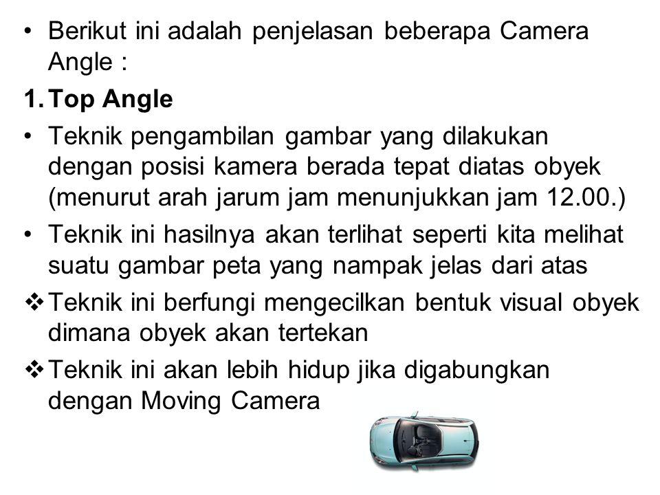 Berikut ini adalah penjelasan beberapa Camera Angle :
