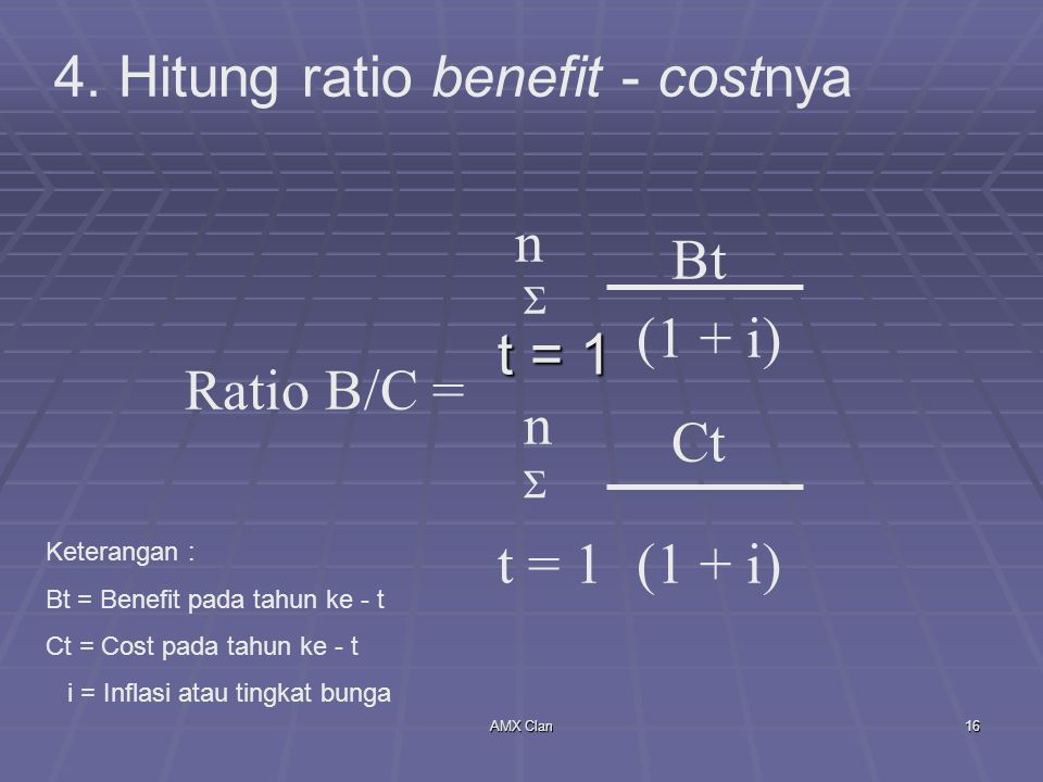 4. Hitung ratio benefit - costnya
